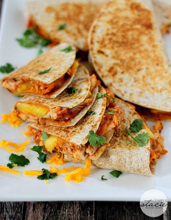 BBQ Chicken & Pineapple Quesadillas by Simply Stacie