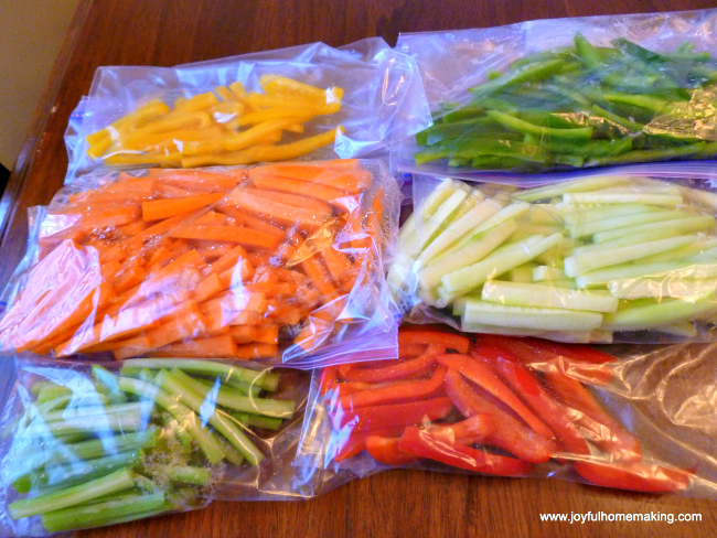 Vegetable Tray Individual Servings, Joyful Homemaking