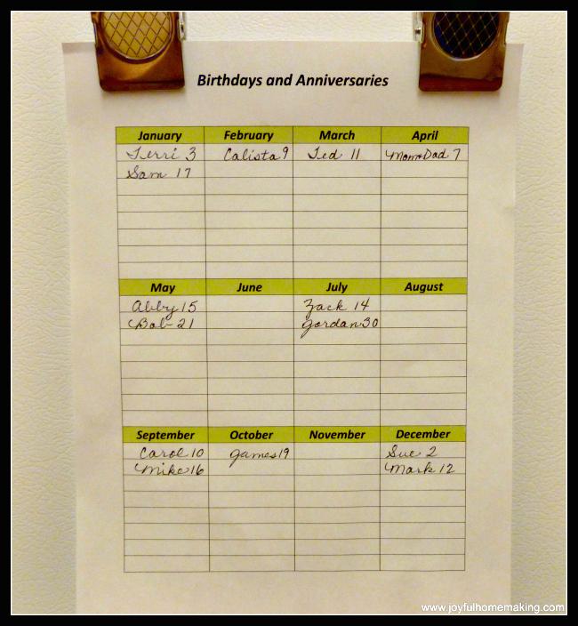 , Keeping Track of Birthdays and Anniversaries, Joyful Homemaking