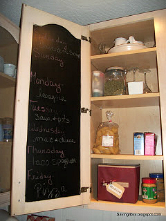 Chalkboard Inside Kitchen Cabinet Door