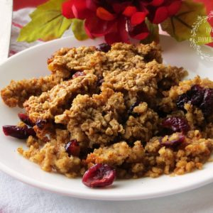 Baked Oatmeal with Cranberries and Cinnamon Cream