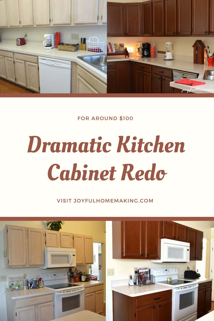 Change your kitchen cabinets with stain