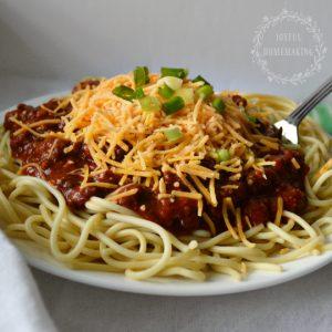 chili spaghetti, Chili Spaghetti, Joyful Homemaking