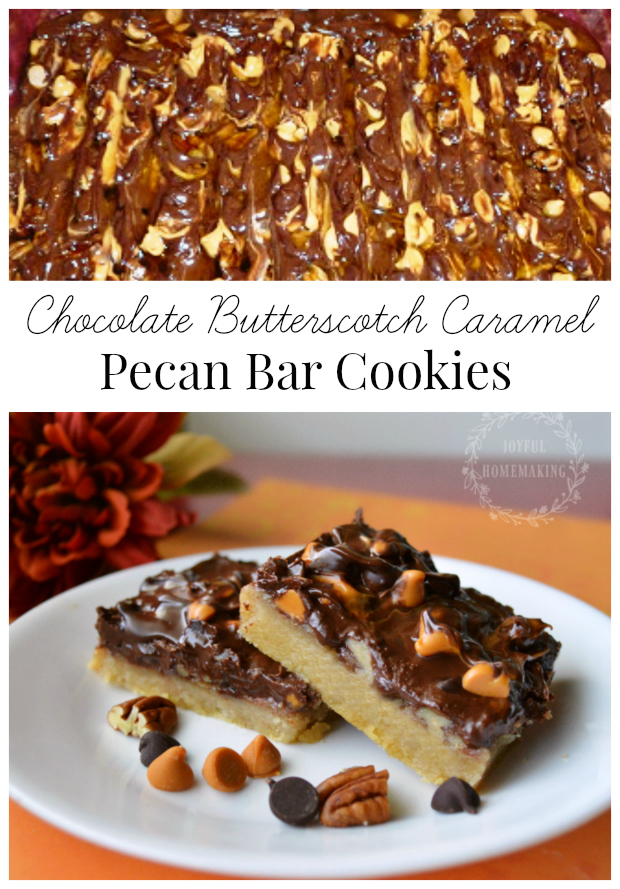 Chocolate Butterscotch Caramel Pecan Bar Cookies