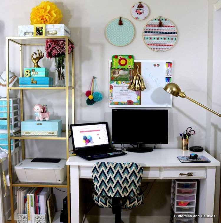 Craft-Room-Desk-and-Ikea-Shelves