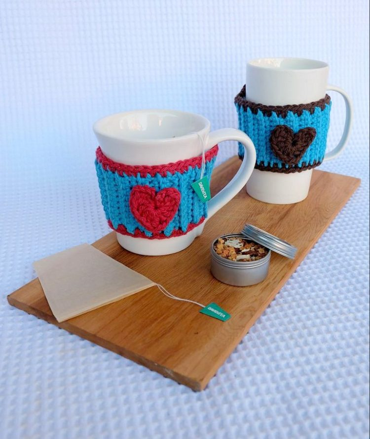 free crochet heart mug cozy pattern