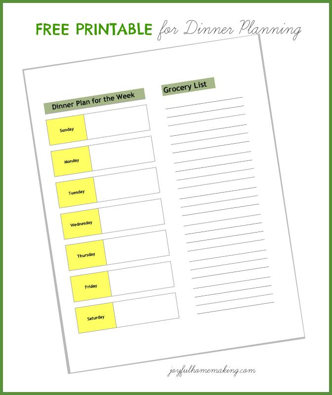 free dinner planning printable, Dinner Planning & Grocery List Printable, Joyful Homemaking