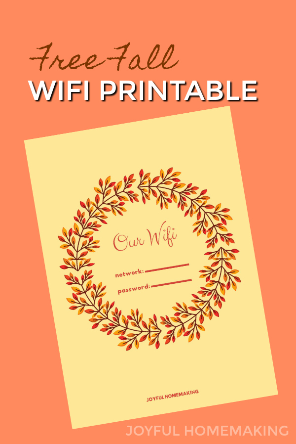 Fall WIFI Password Printable