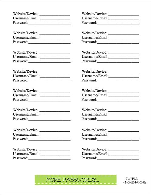 photograph about Printable Password Keeper called Free of charge Pwords Printables - Satisfied Homemaking