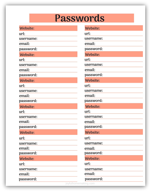 , Free Password Tracker Printable, Joyful Homemaking
