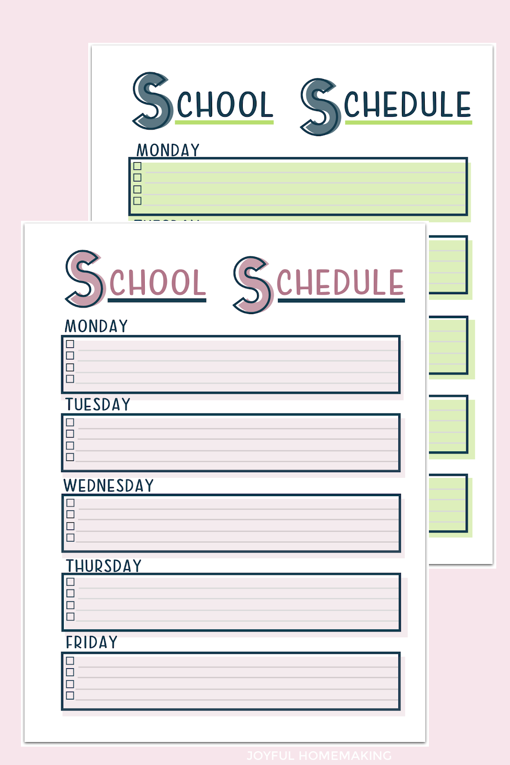 Purple and green weekly printable school schedules.