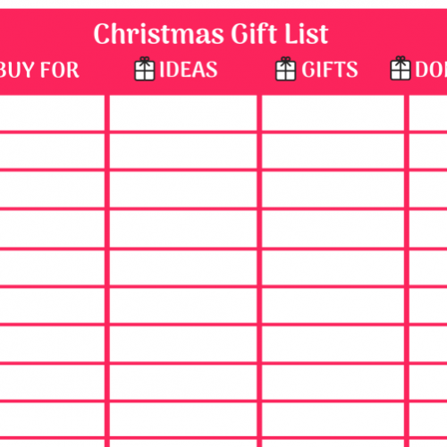 printable Christmas gift list