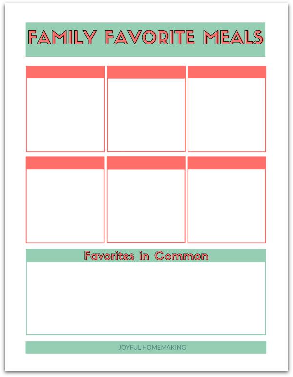 Easy Menu Planning: Family Favorites, Joyful Homemaking