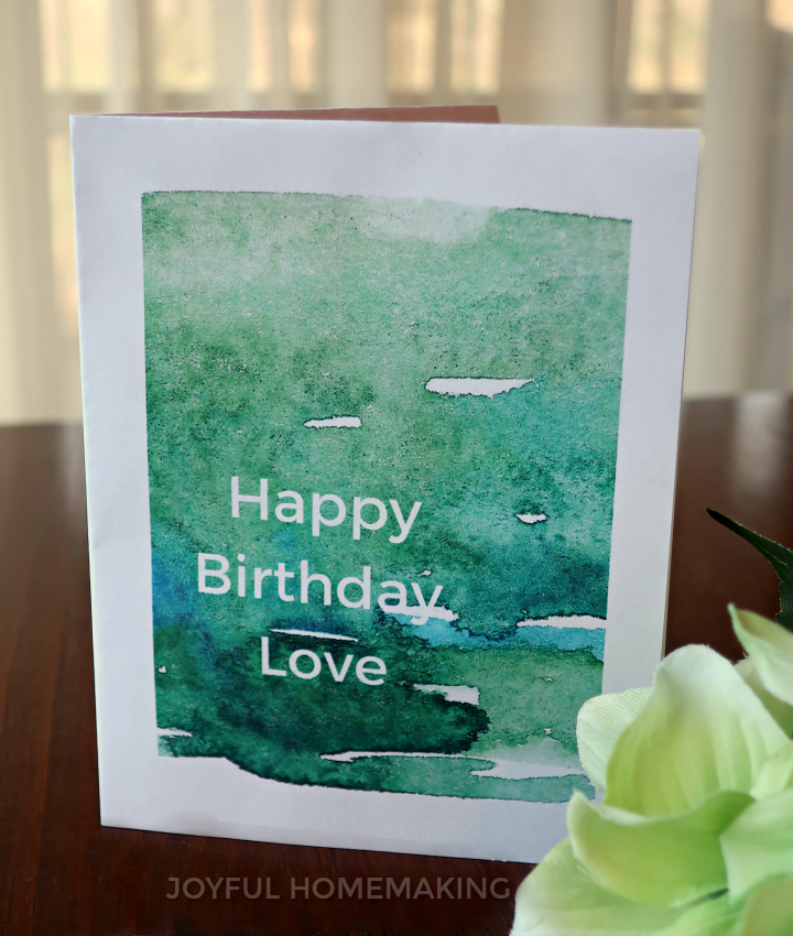 Printable Husband Birthday Card and Envelope
