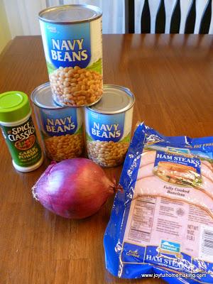 navy bean and ham soup, Quick Navy Bean and Ham Soup, Joyful Homemaking