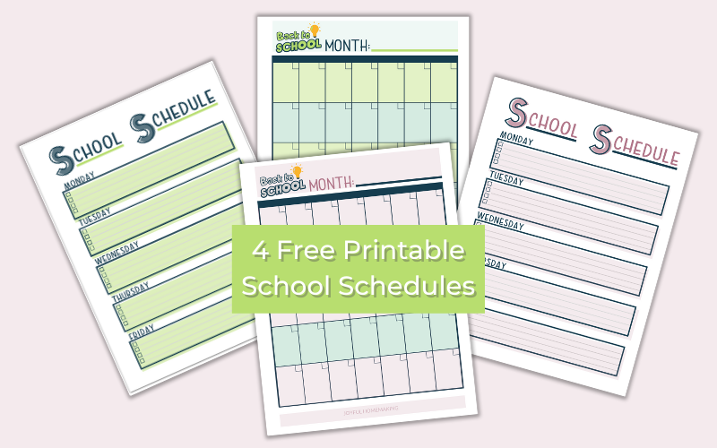 Purple and green weekly and monthly printable school schedules.