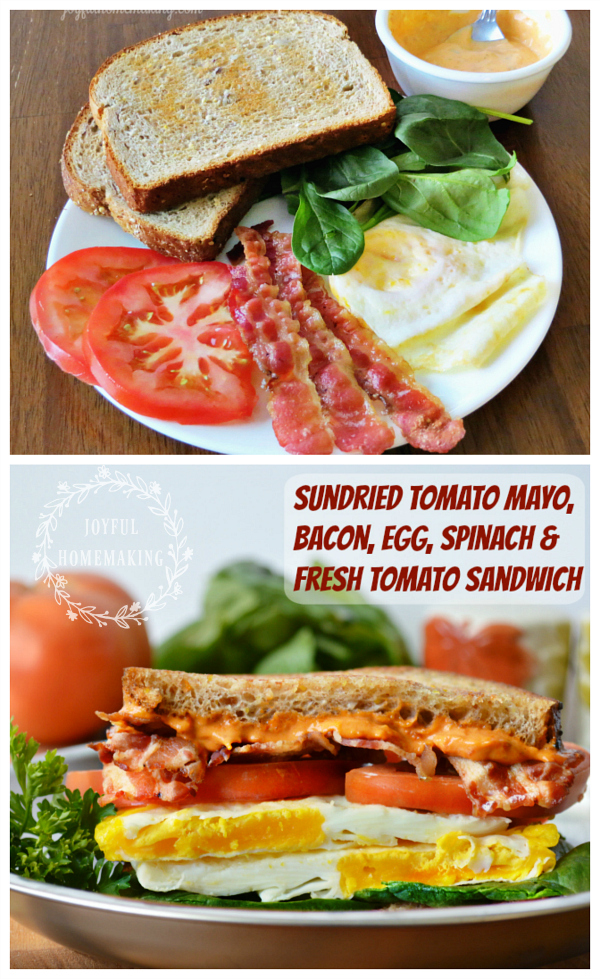 Sundried Tomato Mayo, Bacon, Egg & Spinach Sandwich