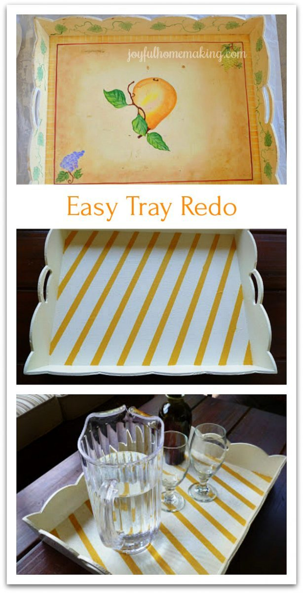 Tray Redo, Rummage Sale Tray Makeover, Joyful Homemaking