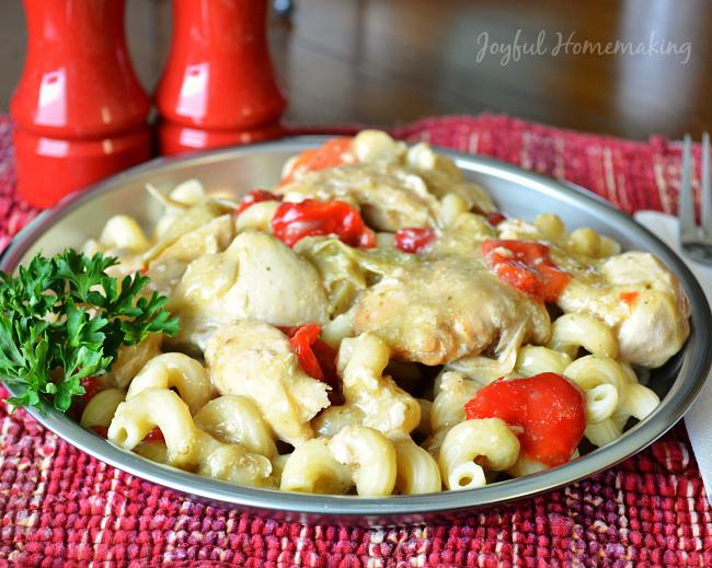 Crockpot Chicken and Artichoke with Pasta