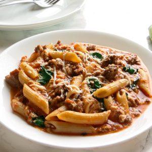 beef and spinach pasta, Beef and Spinach Pasta, Joyful Homemaking