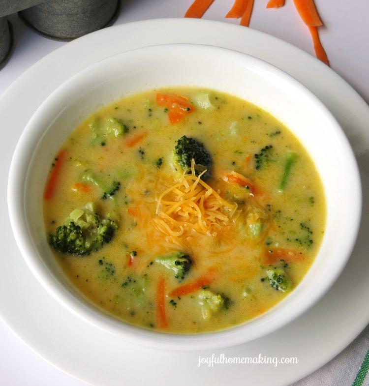 Easy Cheddar Broccoli Soup - Joyful Homemaking