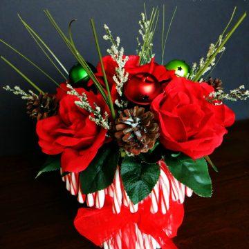 Beautiful Candy Cane Vase Flower Arrangement