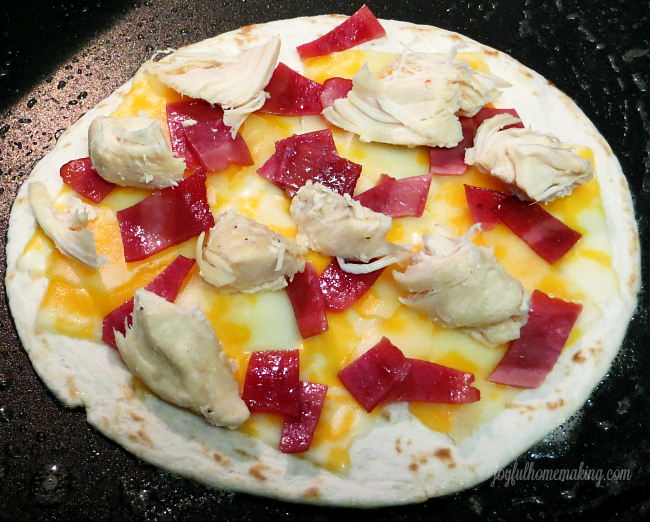 Quesadillas with chicken and bacon