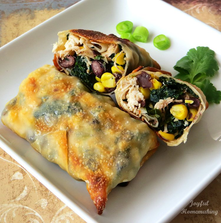 Baked Chicken and Spinach Egg Rolls