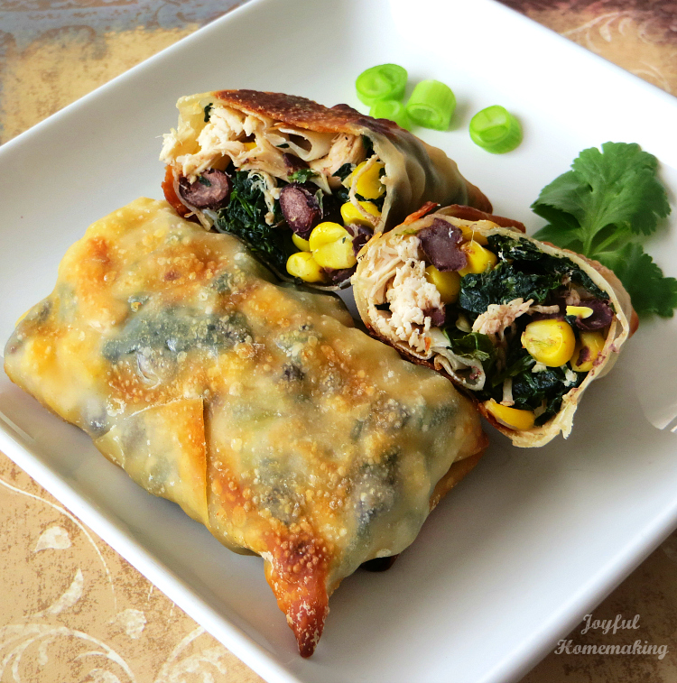 chicken and spinach egg roll