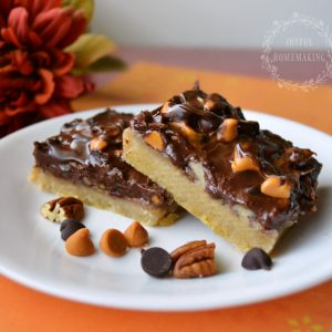 Chocolate and Butterscotch Caramel Pecan Bars, Joyful Homemaking