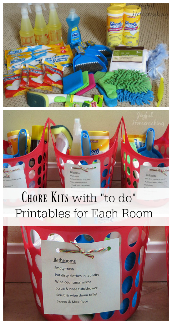 chore kits with printables for each room