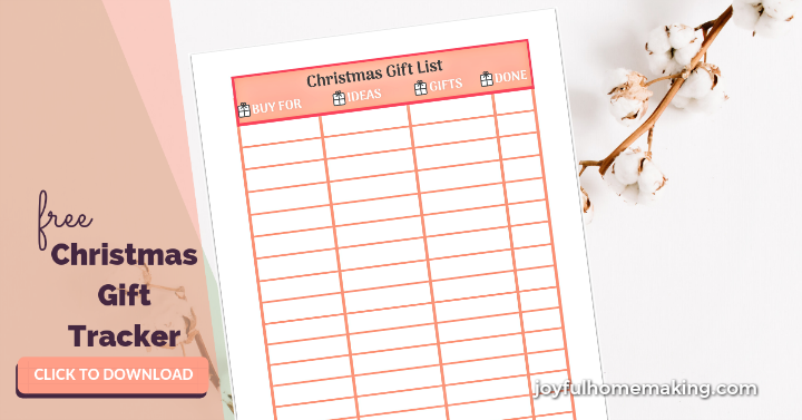 Free Printable Christmas Gift List Tracker