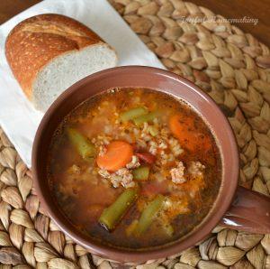 crockpot beef, vegetable & rice soup, Crock Pot Beef Vegetable and Rice Soup, Joyful Homemaking