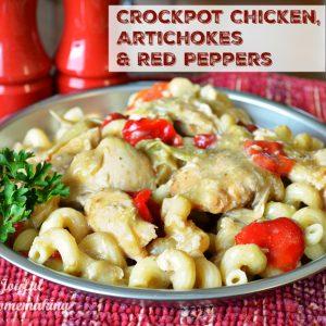 crockpot chicken artichoke red pepper pasta, Crockpot Chicken and Artichoke with Pasta, Joyful Homemaking