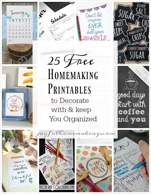 25 Free Homemaking Printables