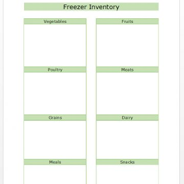 Inventory List for Freezer