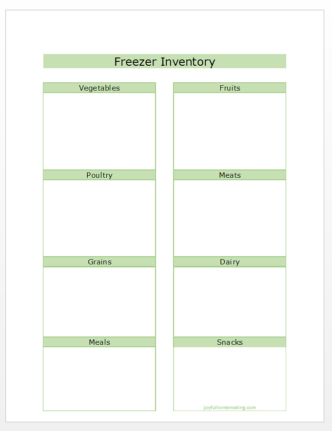 Printable Freezer Inventory List