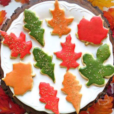 Leaf Cookies with Autumn Colors