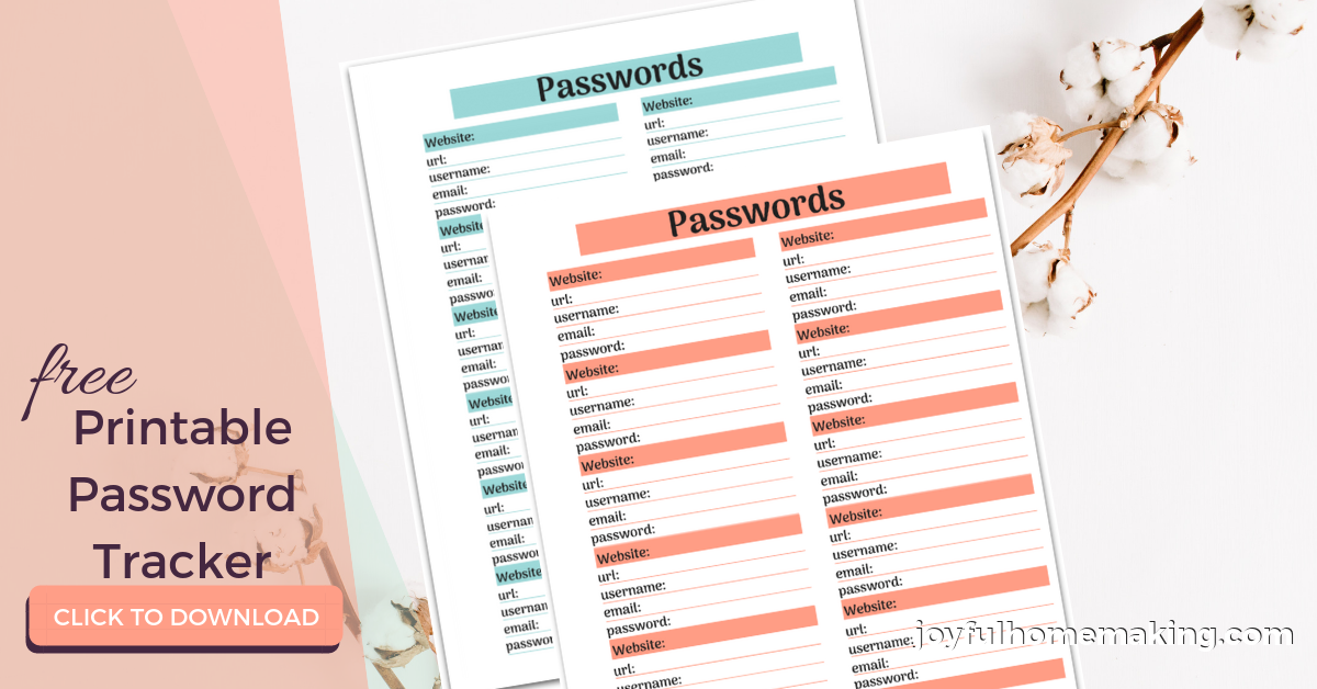 Free Password Printables