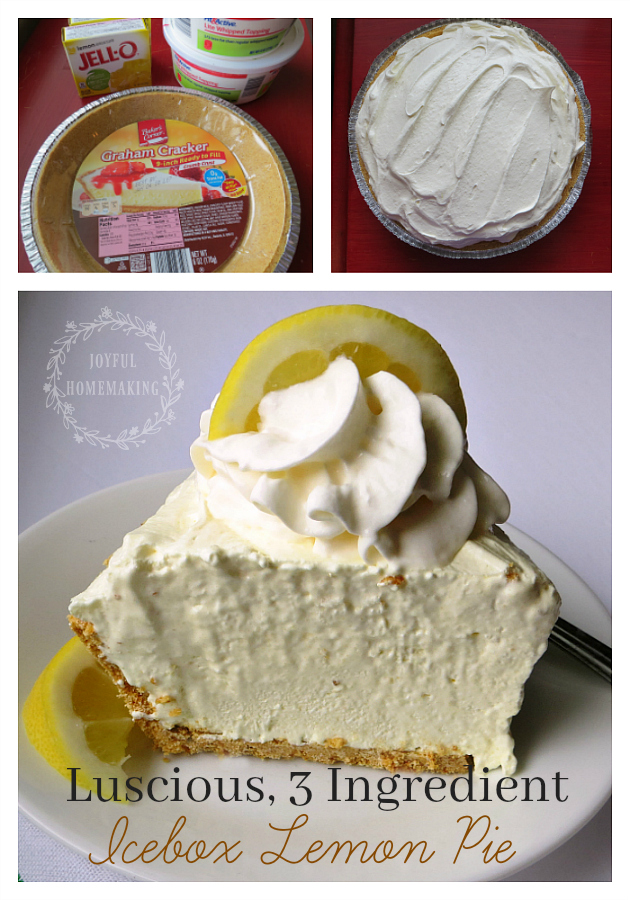Lemon Pie, 3 Ingredient Icebox Lemon Pie, Joyful Homemaking