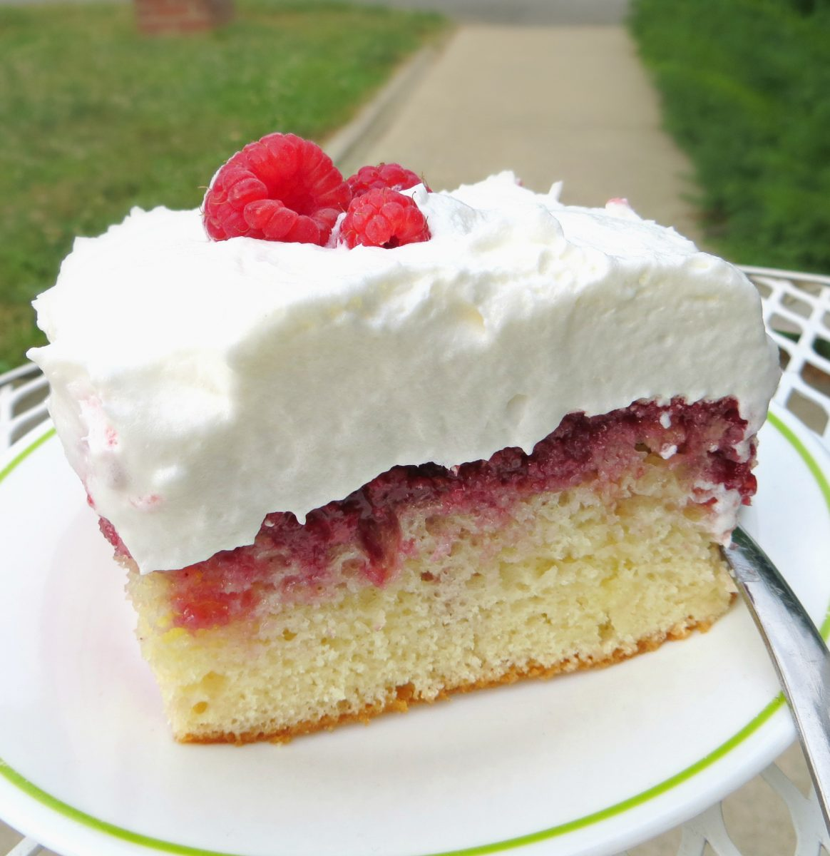 Lemon Raspberry Poke Cake
