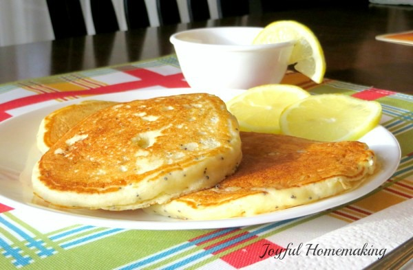 Lemon Poppyseed Pancakes with Lemon Syrup