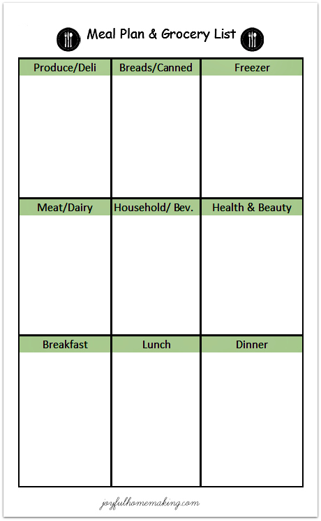 Free Printable Menu Plan and Grocery List