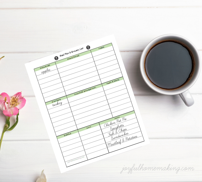 Free Printable Meal Planner and Grocery List