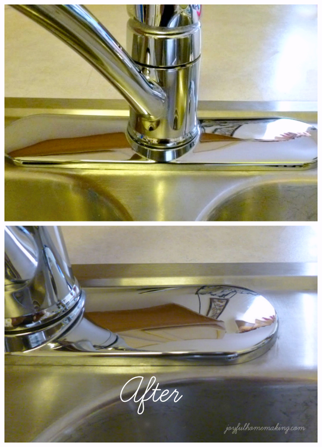 Clean mineral deposits off sink