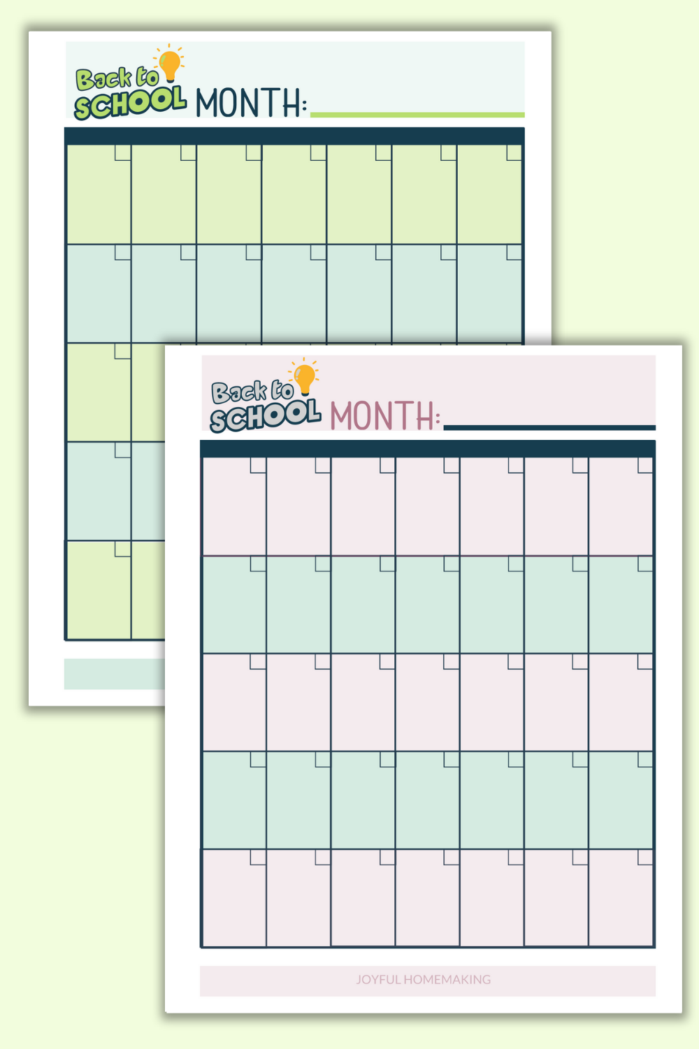 Purple and green monthly printable school schedules.