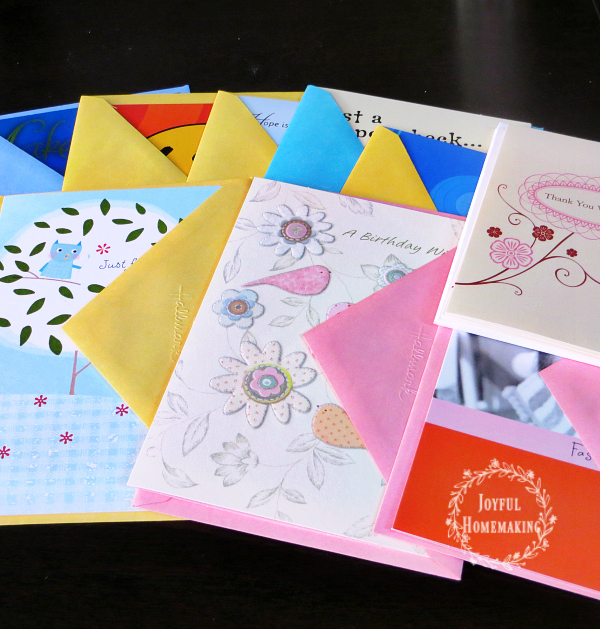 How to organize greeting cards joyful homemaking keep a stash of various types of greeting cards on hand m4hsunfo