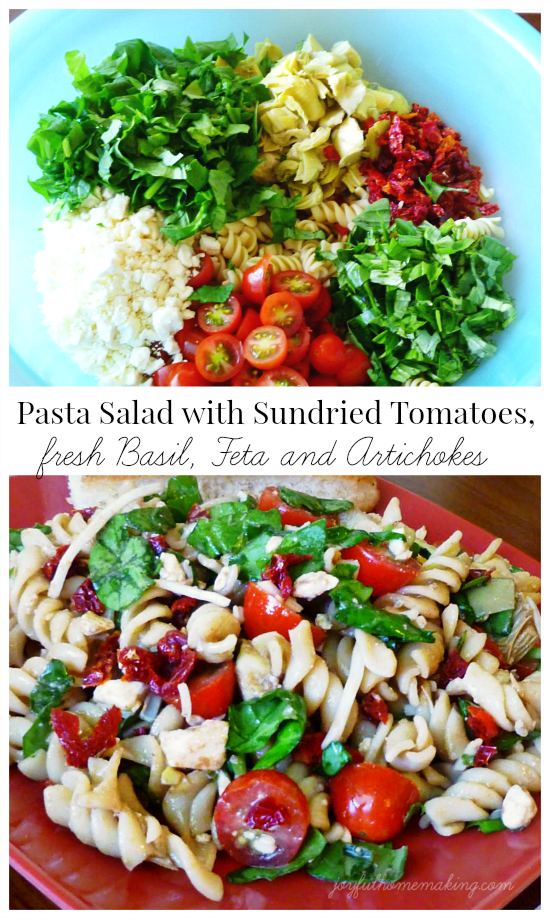 Pasta Salad with Sundried Tomatoes, Basil, Feta & Artichokes