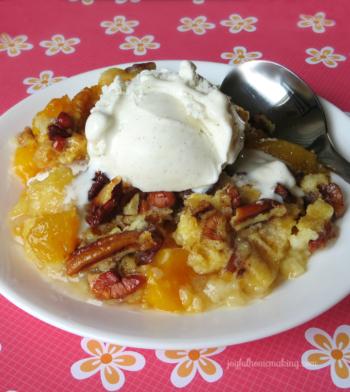 Easy Peach Dump Cake with Pecans