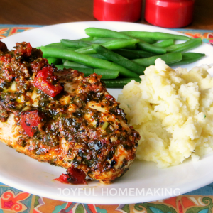Tomato and Pesto Baked Chicken, Joyful Homemaking